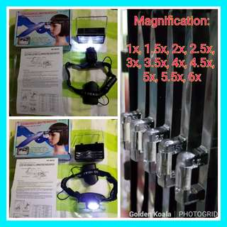 🔎🔍 2-LED Headband Illuminating Dual Lens Magnifier (For Reading, Drawing, Sewing, Watch Repair, etc.) w/ 5 Kinds of Lenses & 11 Magnifications: 1x, 1.5x, 2x, 2.5x, 3x, 3.5x, 4x, 4.5x, 5x, 5.5x, 6x