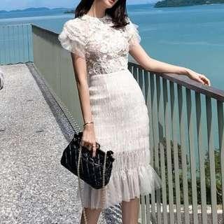 Ladies - Lacy Mesh Dress L1741