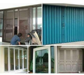 Pintu kasa nyamuk almunium...kusen almunium .folding gate