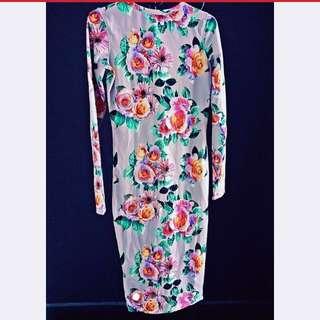 Zara Floral Lilac Knee Length Bodycon Dress