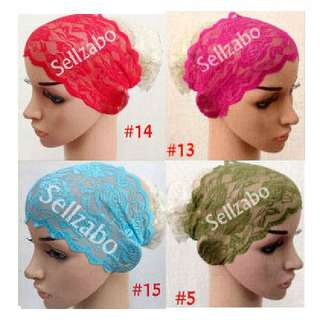 Stretchable Lace Head Bands 12 Colours Sellzabo Muslim Malay Hair Hijab Inner Accessories