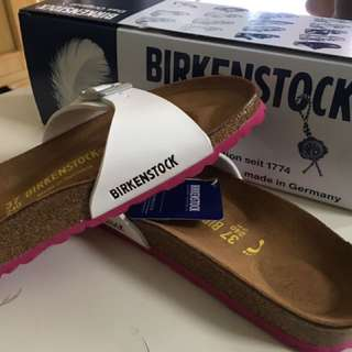 Birkenstock white with pink hole