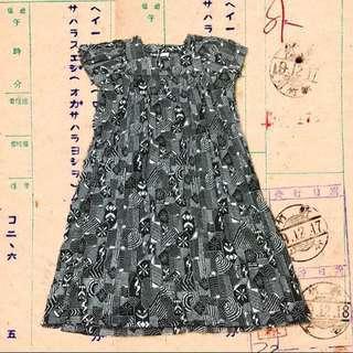 日本購入超日系復古幾何印花圖騰洋裝棉花糖女孩也適合