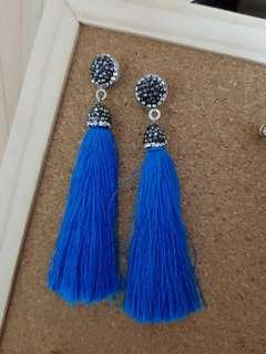 Silk Fabric Long Drop Dangle Tassel Earrings Women Trendy Jewelry