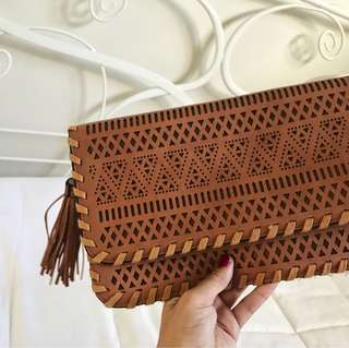 Brown boho clutch