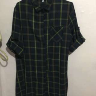 Green Checkered Polo Dress - Large