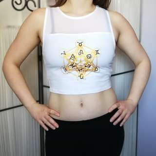 White Metatron's Cube Crop Tank Hand Painted Gold Zodiac Small New