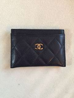 Chanel navy caviar card holder