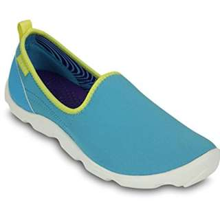 Crocs Duet Busy Day Skimmer W Electric Blue/White Shoe 100% Genuine