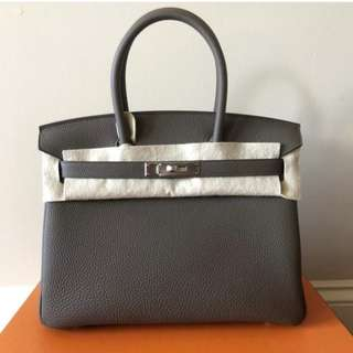 Authentic Hermes Birkin 30 Etoupe
