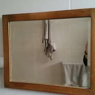 Vintage solid wood, bevelled edge mirror