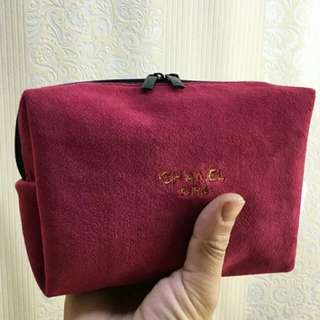 Chanel Red Suede Makeup Pouch
