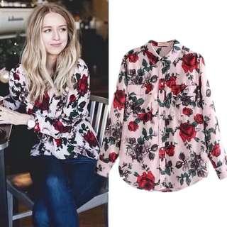 European Women's Rose Rose Vintage Print Shirt Blouse