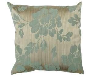 Decorative silk cushion cover green gold floral