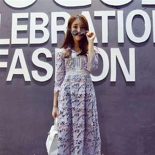 Mid Sleeve Lace Midi Dress