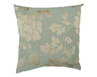 Decorative silk cushion cover green gold embroidered floral