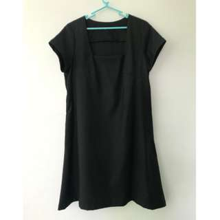 A-Line Black Dress with U Neckline