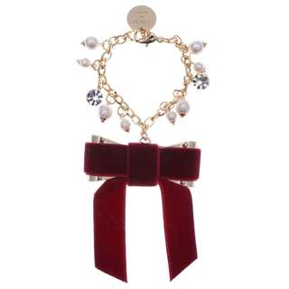 Japan Samantha Thavasa Colors By Jennifer Sky Velvet Ribbon Charm (Wine Red)