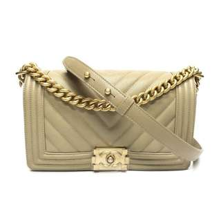 Authentic Chanel Boy Medium Beige Caviar