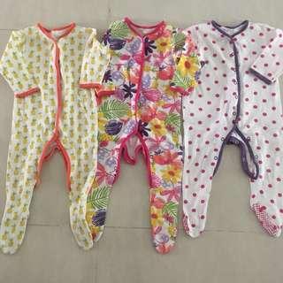 PL Mothercare Sleepsuits 3pcs (9-12m)