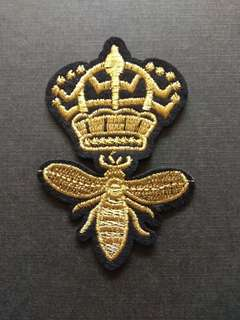 Crown Bee Gold Craft Iron On Patch