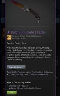 CSGO Knife (Falchion Knife | Fade (FN))