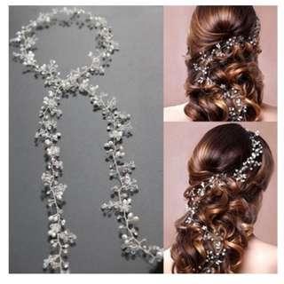Pearl Crystal Vine Wedding Headband - LB0001