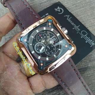 New Alexandre Christie AC 3030 Mc Rose Gold Baterai Tali Kulit Original