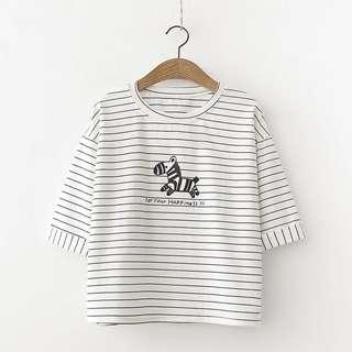 2018 Summer New Japanese Cartoon Zebra Striped T-Shirt Girls Literary Fresh Newborn Shirt Tattoo T-Shirt