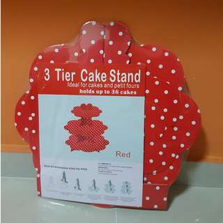 3 tier party cake stand (Red Polka dot)