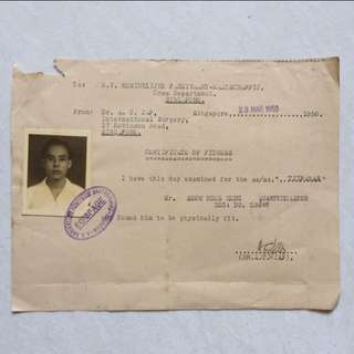 Vintage Old Document - 1950 Singapore Old Certificate Of Fitness with Passport Photo