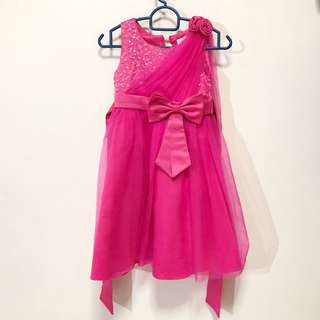KIDS: Pink Party Dress with sequins and lace