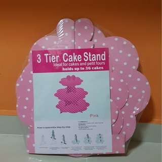 3 tier party cake stand (Pink Polka dot)