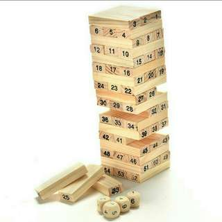 54 Blocks Jenga Games w/ 4 Dice