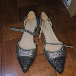 Topshop Glittery Pointed Flats