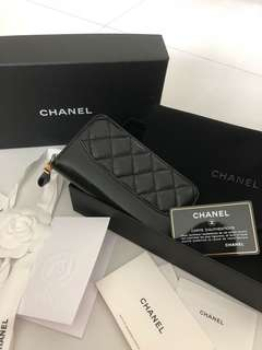 "CHANEL ""GABRIELLE"" Matelasse Round Long Wallet Black"