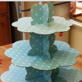 3 tier party cake stand (Blue Polka dot)