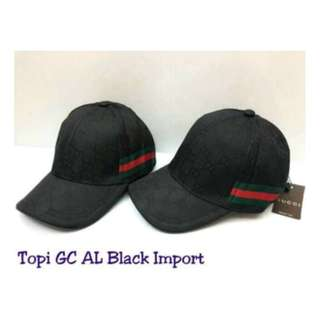 TOPI GUCCI// AL GHAZALI IMPORT FULL BLACK