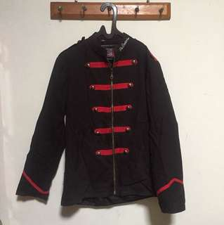 BLACK JACKET WITH RED LIST // jaket hitam