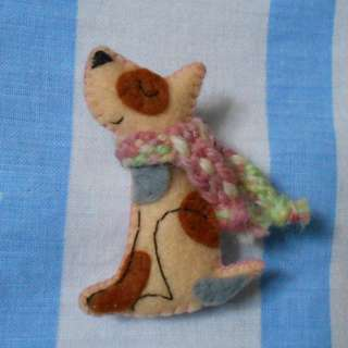 Cream and pink dog pin/brooch with hand-woven scarf