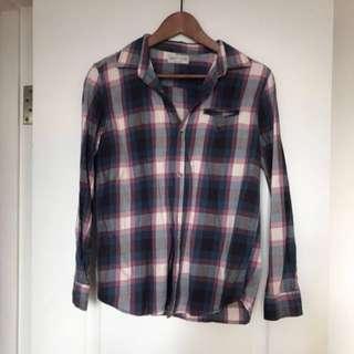 Zara boys 細碼型女可著混搭至愛只藍色格子恤衫check shirt