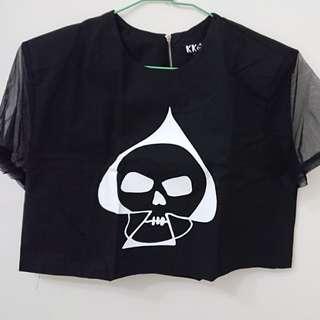 🚚 韓製stylenanda kkxx骷髏頭短袖短版上衣T恤