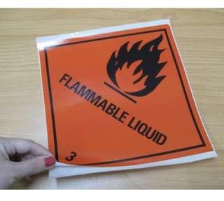 HZW005_PS Flammable Liquid 3 paper sticker (pack of 5pcs) 240mm x 240mm
