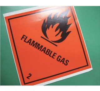 HZW059_PS Flammable Gas 2 paper sticker (pack of 5pcs) 240mm x 240mm