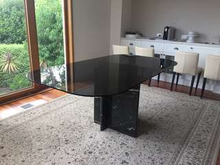 Black Marble and Glass Dining Table