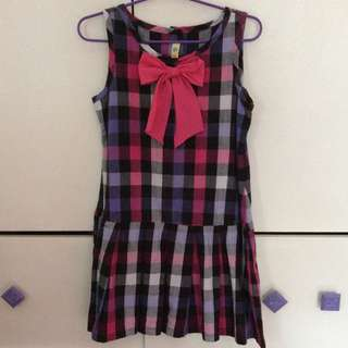 Alli & Ella Checker Dress with pink bow