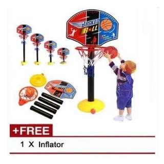 Adjustable Basketball Stand Game Set with Ball Inflator