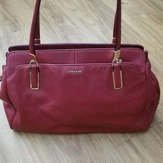 BNWT Coach Leather Red Shoulder Tote Bag