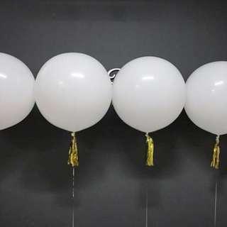 Helium Balloon - 36 Inch White Plain Balloon