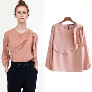 Inspired Zara top with pearl buttons flowing top Round Neck line